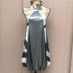 Sz M Juju&B Metallic Silver Black White Dress
